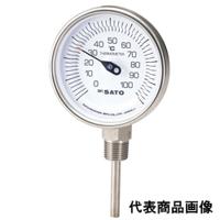 佐藤計量器製作所 バイメタル温度計 BM-S-90S (0〜100℃、L=200mm、 R(PT)1/2) 1本 (直送品)