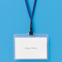 ストラップ付名札 チャック式 大きめサイズ ブルー 5組 HEROES
