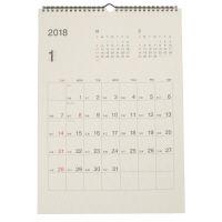 無印良品 バガスペーパー日曜始まり六輝カレンダー・2018年 18年1月~12月・A3・420×297mm 38884323 良品計画