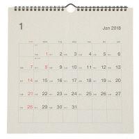 無印良品 バガスペーパー日曜始まり六輝カレンダー・大・2018年 18年1月~12月・270×270mm 38884330 良品計画