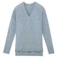 無印 Vネックセーター 婦人S ブルー