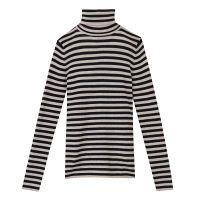 無印良品 首のチクチクをおさえた洗えるタートルネックセーター 婦人 L オートミール×ネイビー 良品計画