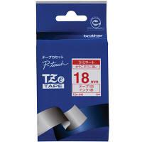 ブラザー ピータッチテープ 18mm ラミネート 白テープ(赤文字) 2個 TZe-242 (取寄品)