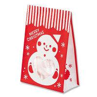 【クリスマス】紙袋 窓付角底袋 雪だるま メリーオーナメント S1F 1袋(10枚入) シモジマ