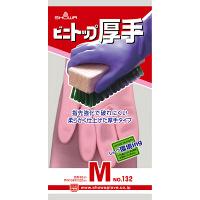 塩化ビニール手袋 ビニトップ厚手 M ピンク 1双 132 ショーワグローブ
