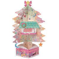 クリスマスカード ツリー カラフル 立体