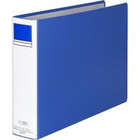 アスクル パイプ式ファイル片開き ベーシックカラー(2穴) B4ヨコ とじ厚50mm背幅66mm ブルー 3冊
