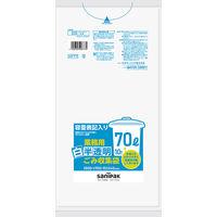 日本サニパック 容量表記入り白半透明ごみ収集袋 炭カル入 70L HT77 1パック(10枚入)