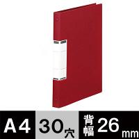 アスクル クリアファイル 差し替え式 10冊 A4タテ背幅26mm ユーロスタイル レッド