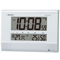 SEIKO(セイコークロック) プログラム機能付デジタル電波時計 [電波 掛け/置き カレンダー 温度・湿度 時計] SQ435W 1個 (直送品)