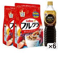 【定期便におすすめ】徳用フルーツグラノーラ 2袋(800g/1袋)&ネスカフェ ゴールドブレンド コク深めボトルコーヒー甘さ控えめ 900ml 6本 朝食セット
