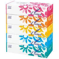 ティッシュペーパー 200組(5箱入)×12パック エルモアティシュー カミ商事