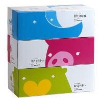 贅沢3枚重ねBOXティシュ 202890 1パック(3箱入) ティッシュペーパー 河野製紙