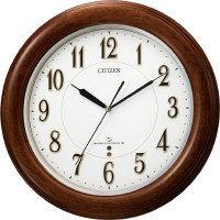 シチズン 高精度電波木枠掛時計 茶