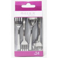 Mozaik(モザイク) ミニフォークスプーンミックス メタル 1パック(24本入:スプーン、フォーク各12本)アームカンパニー