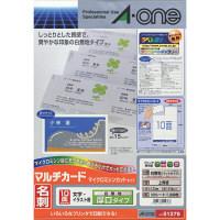エーワン マルチカード 兼用タイプ 白 厚口 10面 51276 1袋(100シート入)