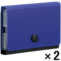 【アウトレット】キングジム ドキュメントファイル ドッチ 12ポケット カードケース H69×W100×D19mm 1セット(2冊:1冊入×2) 2217アオ