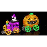 ハロウィン LEDクリスタルモチーフ ハロウィントレイン イルミネーション 高さ43cm 友愛玩具 (取寄品)