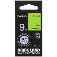 カシオ ネームランドテープ 蛍光 9mm 緑テープ(黒文字) 1個 XR-9FGN
