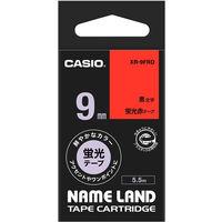 カシオ ネームランドテープ 蛍光 9mm 赤テープ(黒文字) 1個 XR-9FRD