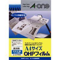 エーワン OHPフィルム コピー用 A4 ノーカット 1面 1袋(20シート入) 27054(取寄品)
