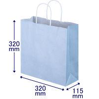 手提げ紙袋 丸紐 パステルカラー 水色 M 1袋(50枚入) スーパーバッグ