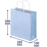 手提げ紙袋 丸紐 パステルカラー 水色 S 1袋(50枚入) スーパーバッグ
