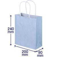 手提げ紙袋 丸紐 パステルカラー 水色 SS 1袋(50枚入) スーパーバッグ