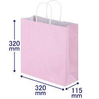 手提げ紙袋 丸紐 パステルカラー ピンク M 1袋(50枚入) スーパーバッグ