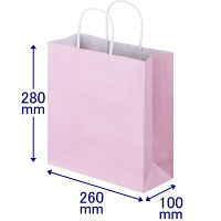 手提げ紙袋 丸紐 パステルカラー ピンク S 1袋(50枚入) スーパーバッグ