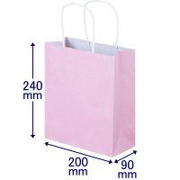 手提げ紙袋 丸紐 パステルカラー ピンク SS 1袋(50枚入) スーパーバッグ