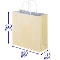 手提げ紙袋 丸紐 パステルカラー イエロー M 1袋(50枚入) スーパーバッグ