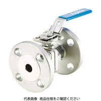 ステンレス鋼製1MPaフランジ式2ピースボール弁40A(1 1/2) UBV-21-J10R-H-ALX 365-5512 (直送品)