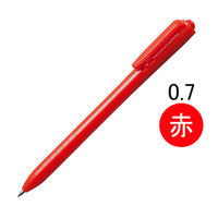 アスクル ノック式油性ボールペン(通し穴付き) 赤軸 0.7mm 赤インク 10本