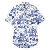 FACE MIX(フェイスミックス) 事務服 ユニセックス 小さいサイズ 半袖アロハシャツ ブルー SS FB599U (直送品)