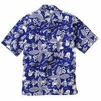 FACE MIX(フェイスミックス) 事務服 ユニセックス 大きいサイズ 半袖アロハシャツ ブルー LL FB486U (直送品)