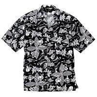 FACE MIX(フェイスミックス) 事務服 ユニセックス 大きいサイズ 半袖アロハシャツ ブラック LL FB486U (直送品)