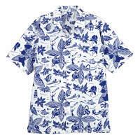 FACE MIX(フェイスミックス) 事務服 ユニセックス 小さいサイズ 半袖アロハシャツ ブルー SS FB502U (直送品)