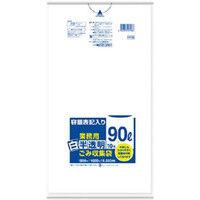 日本サニパック サニパック 容量表記入り白半透明ゴミ袋90L (1袋(PK)=10枚入) HT96 1袋(10枚) 356-4355(直送品)