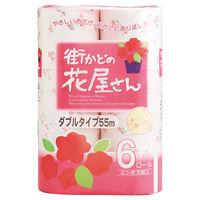 トイレットペーパー 6ロール 古紙配合 エレガンスブーケの香り ダブル 55m 街かどの花屋さん 1パック(6個入) 泉製紙
