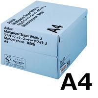 コピー用紙 マルチペーパー スーパーホワイトJ A4 1箱(5000枚:500枚入×10冊) 高白色 国内生産品 アスクル