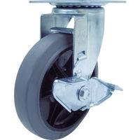 ユーエイキャスター(YUEI CASTER) 産業用キャスターS付自在車 150径ゴム車輪 RJ2-150NWRS-G 1個 380-3309 (直送品)