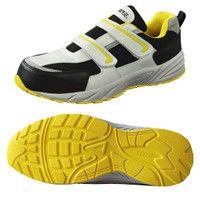 ミドリ安全 JSAA認定 作業靴 プロスニーカー MJ355 25.0cm シルバーグレー/イエロー 1足 A2125057309(直送品)