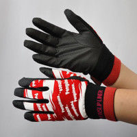 R9448001001 作業手袋 ノンスリップライトPパターン 甲メリ 赤M 1セット(5双入) 福徳産業 (直送品)