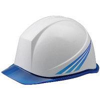 ミドリ安全 デザインヘルメット PC(ポリカーボネート) クリアバイザー青ストライプ&ホワイト 頭囲/55cm~62cm 1個 4001503143 (直送品)