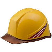 ミドリ安全 デザインヘルメット クリアバイザーブラウンストライプ&イエロー 頭囲/55cm~62cm 1個 4001503191 (直送品)