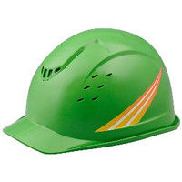 ミドリ安全 デザインヘルメット 黄ストライプ&グリーン ABS 頭囲/55cm~62cm 4001501305 1個 (直送品)