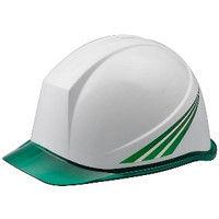 ミドリ安全 デザインヘルメット クリアバイザー緑ストライプ&ホワイト PC(ポリカーボネート) 頭囲/55cm~62cm 4001503133 1個 (直送品)