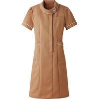 AITOZ(アイトス) ロールカラーワンピース(ナースワンピース) 医療白衣 半袖 モカ L 861110-032