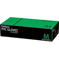 ファーストレイト エンボスPVCグローブ パウダーイン プラスチック Mサイズ FR-847 1箱(100枚入)(使い捨てグローブ)